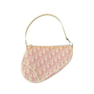 Dior Pink Coated Canvas Mini Saddle Bag